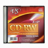 Диск CD-RW VS 700 Mb, 12x, Slim Case (1), (1/200)